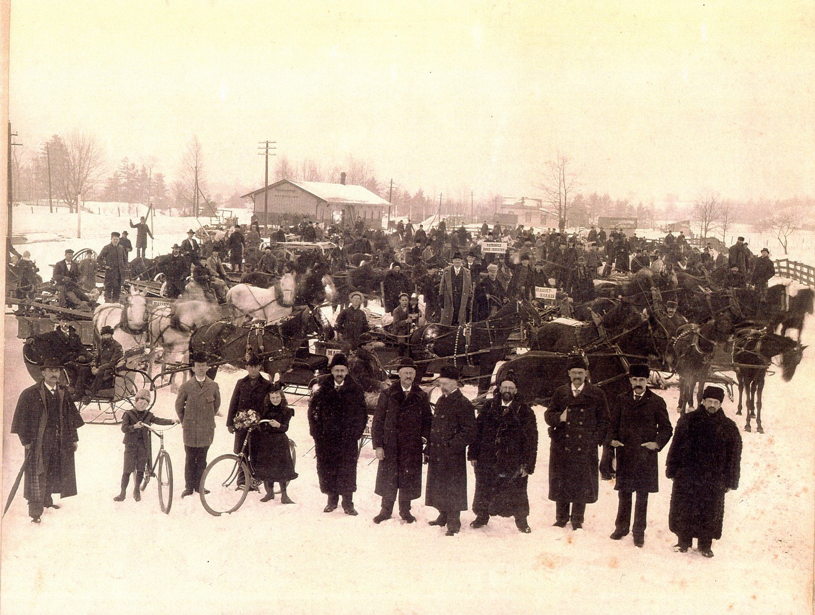 Old Aldershot ('Waterdown') train station in winter, 1899