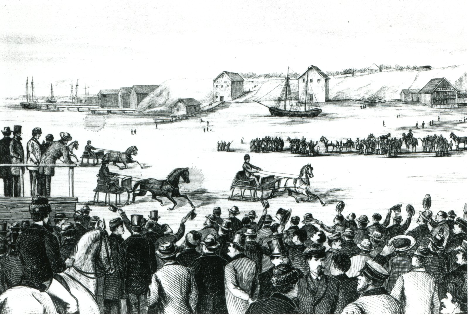 Winter sport on Hamilton Harbour, 1863